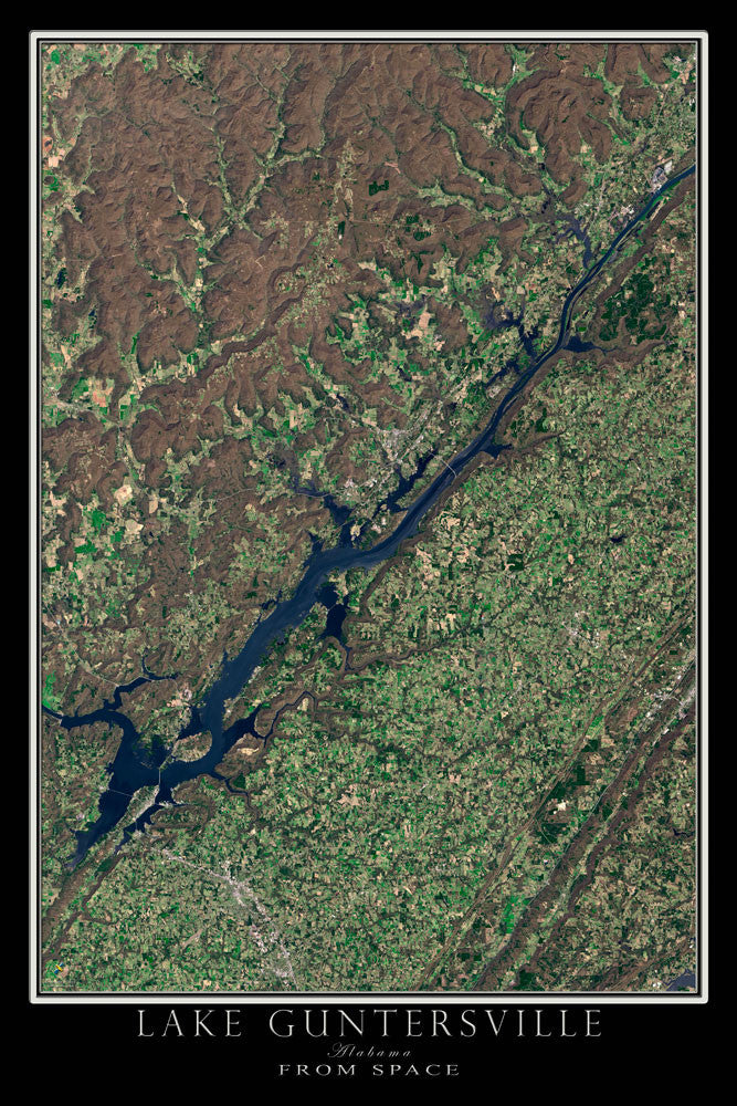 Guntersville Lake Alabama From Space Satellite Poster Map - TerraPrints.com