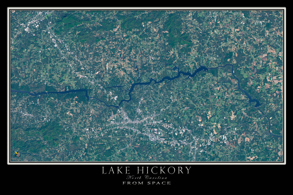 Lake Hickory North Carolina From Space Satellite Poster Map - TerraPrints.com