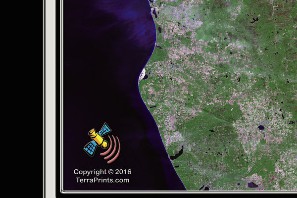Lake Huron From Space Satellite Poster Map