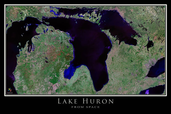 Lake Huron From Space Satellite Poster Map - TerraPrints.com