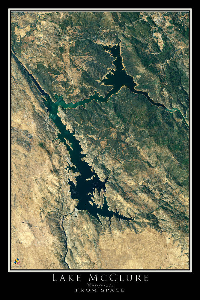 The Lake McClure California Satellite Poster Map