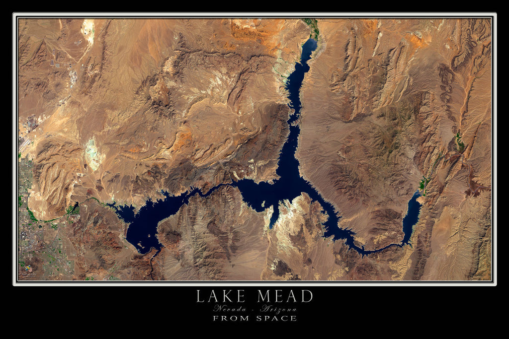 Lake Mead Nevada - Arizona From Space Satellite Poster Map - TerraPrints.com