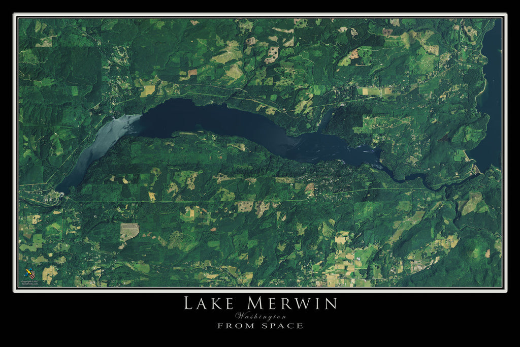 Lake Merwin Washington Satellite Poster Map