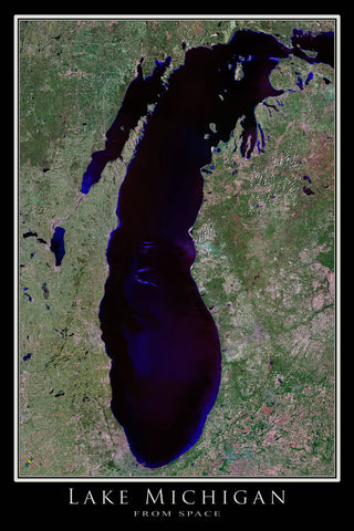 Lake Michigan From Space Satellite Poster Map - TerraPrints.com