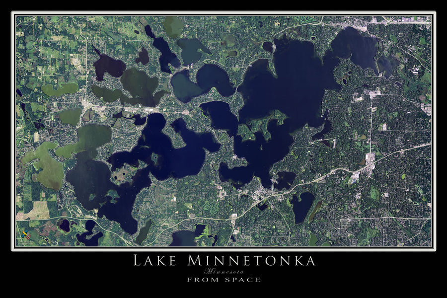 Lake Minnetonka Minnesota Satellite Poster Map by TerraPrints.com. Available in multiple sizes with free shipping in the USA.