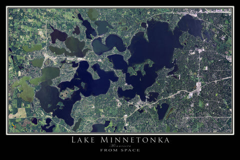 Lake Minnetonka Minnesota From Space Satellite Poster Map by TerraPrints.com. Available in multiple sizes with free shipping in the USA.