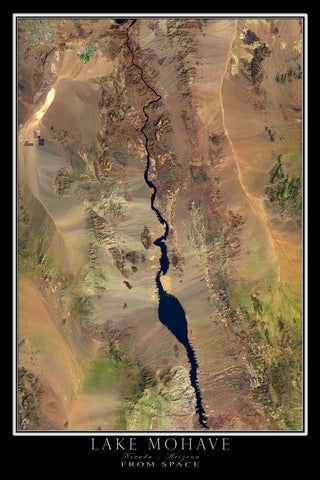 Lake Mohave Nevada - Arizona From Space Satellite Poster Map - TerraPrints.com