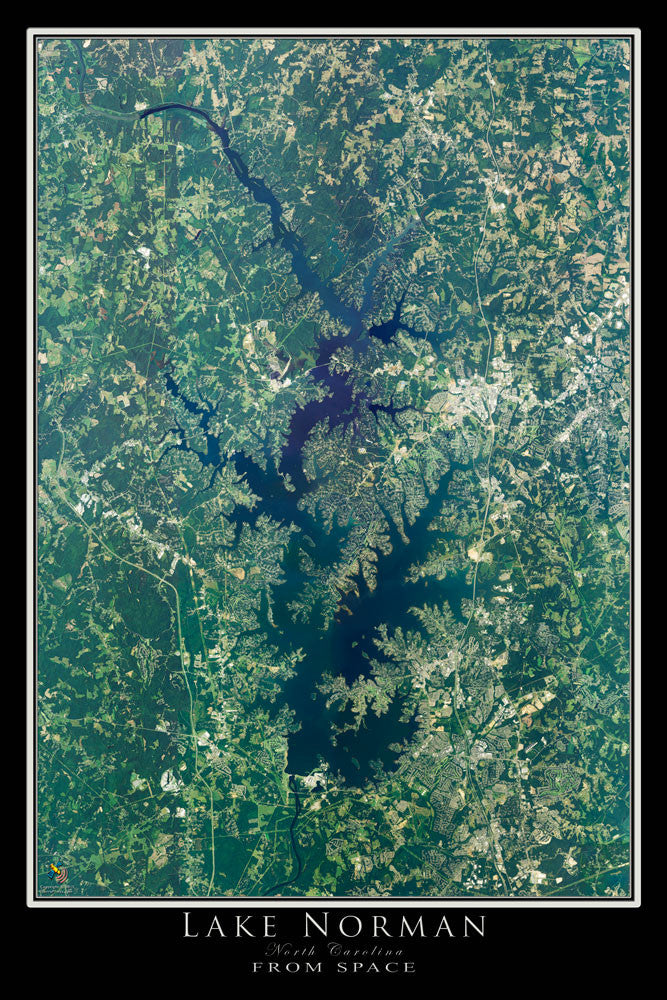 Lake Norman North Carolina From Space Satellite Poster Map by TerraPrints.com. Available in multiple sizes with free shipping in the USA.