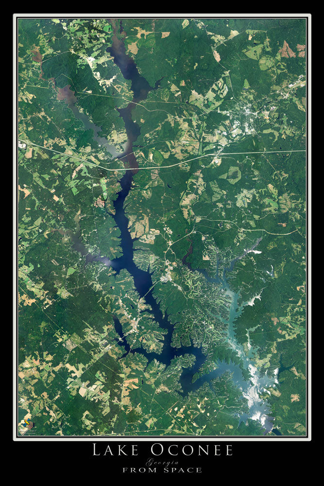 Lake Oconee Georgia From Space Satellite Poster Map - TerraPrints.com