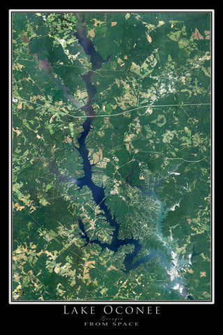 The Lake Oconee Georgia Satellite Poster Map