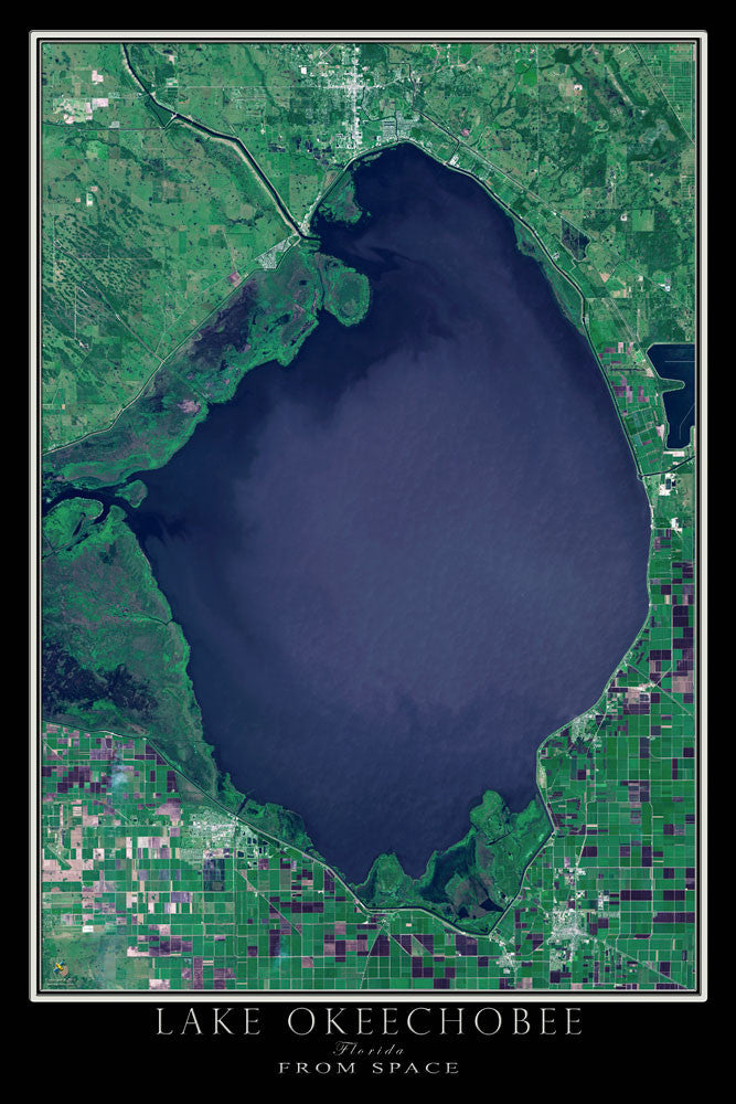Lake Okeechobee Florida Satellite Poster Map Terraprints Com