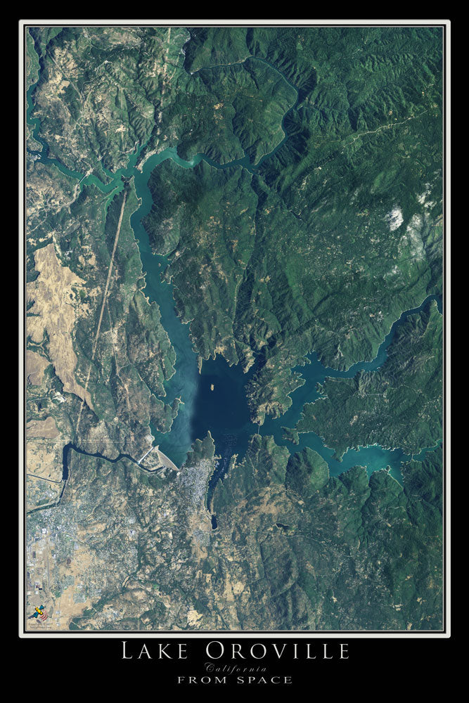 Lake Oroville California From Space Satellite Poster Map - TerraPrints.com