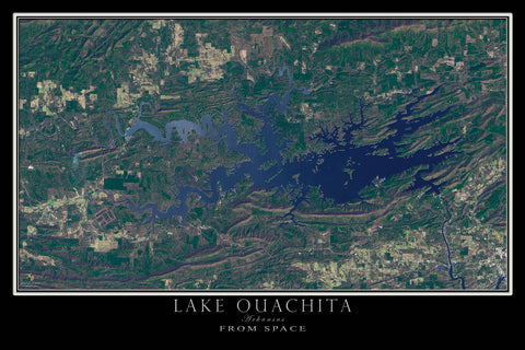 Lake Ouachita Arkansas From Space Satellite Poster Map - TerraPrints.com