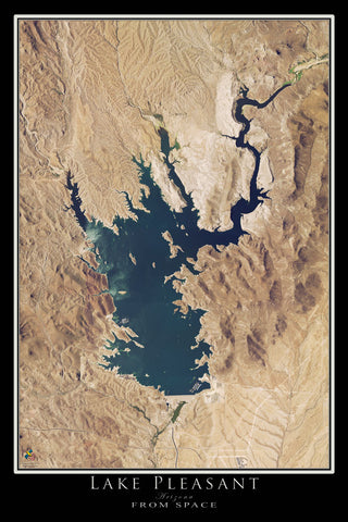 Lake Pleasant Arizona Satellite Poster Map by TerraPrints.com. Available in multiple sizes with free shipping in the USA.
