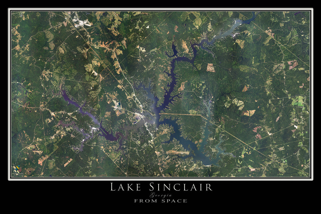 Lake Sinclair Georgia From Space Satellite Poster Map by TerraPrints.com. Available in multiple sizes with free shipping in the USA.