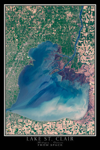 Lake St Clair Michigan - Ontario From Space Satellite Poster Map - TerraPrints.com