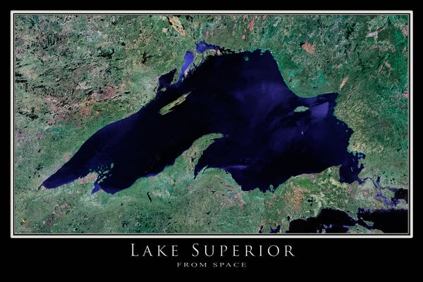 Lake Superior From Space Satellite Poster Map - TerraPrints.com