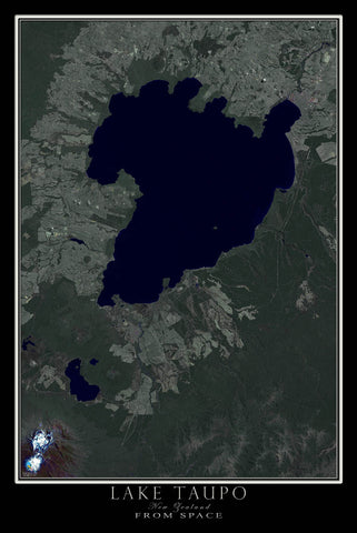 Lake Taupo New Zealand From Space Satellite Poster Map - TerraPrints.com