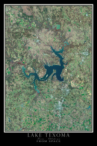 Lake Texoma Texas - Oklahoma Satellite Poster Map - TerraPrints.com