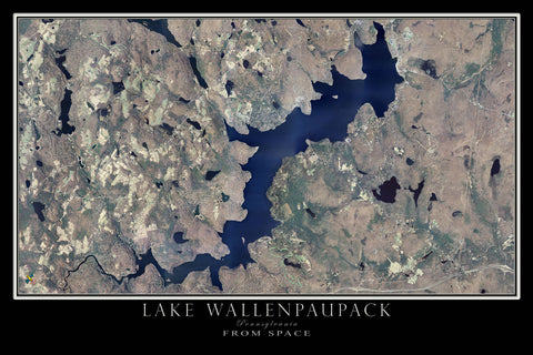 Lake Wallenpaupack Pennsylvania From Space Satellite Poster Map by TerraPrints.com. Available in multiple sizes with free shipping in the USA.