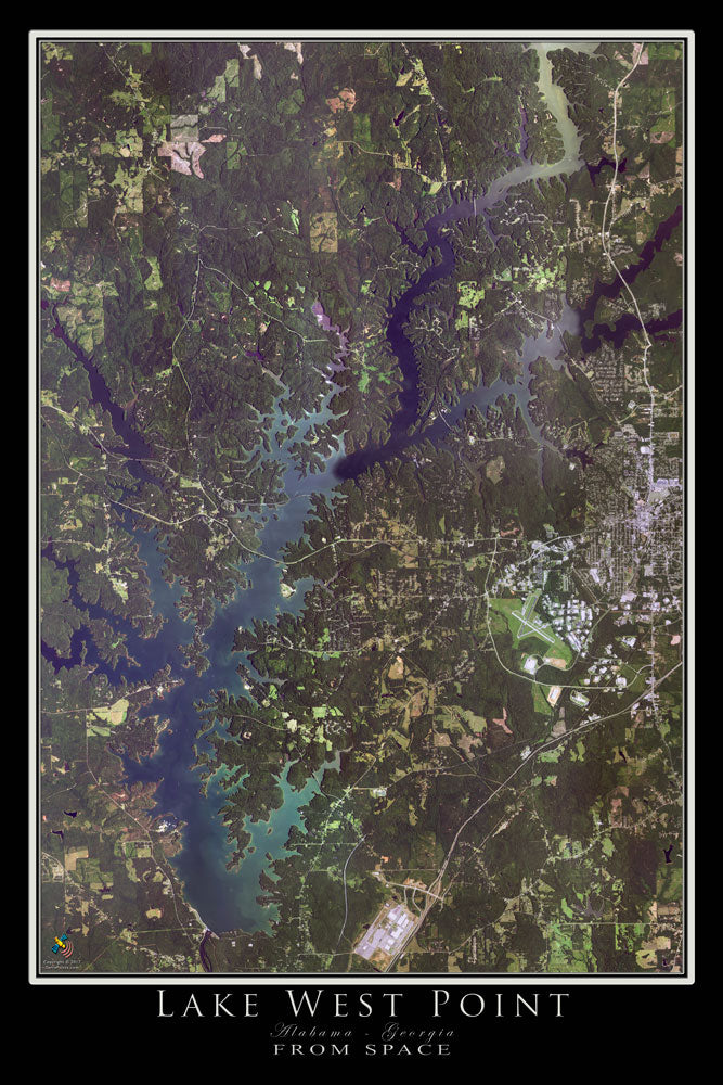 Lake West Point Alabama - Georgia Satellite Poster Map