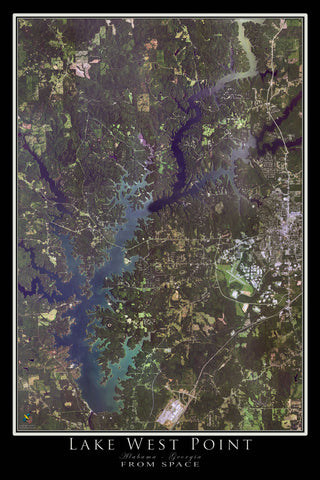 Lake West Point Alabama - Georgia From Space Satellite Poster Map - TerraPrints.com