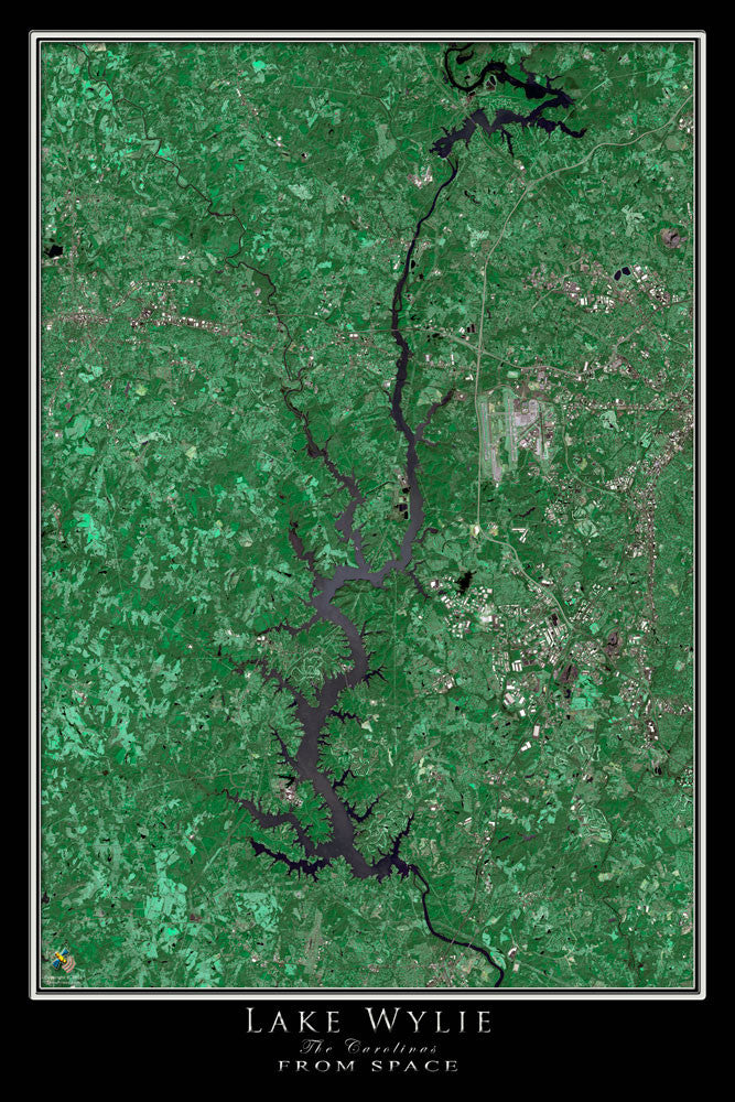 Lake Wylie North Carolina - South Carolina Satellite Poster Map