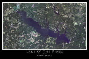 The Lake O' The Pines Texas Satellite Poster Map