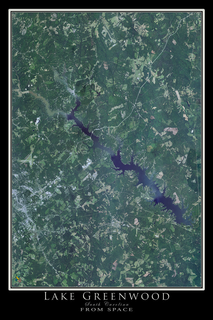Lake Greenwood South Carolina Satellite Poster Map