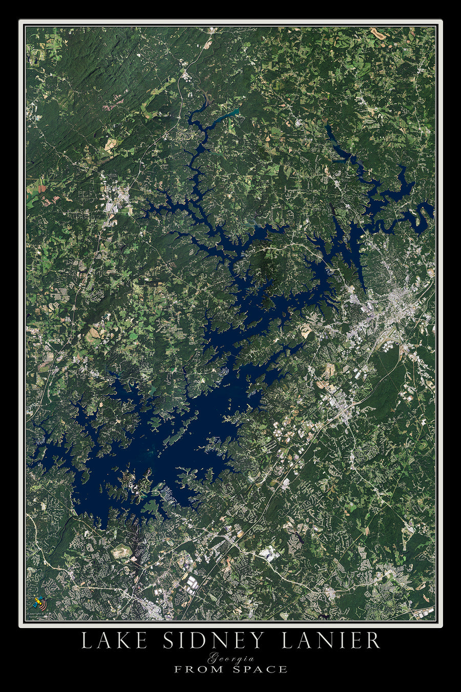 The Lake Sidney Lanier Georgia Satellite Poster Map
