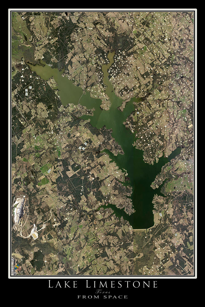 The Lake Limestone Texas Satellite Poster Map