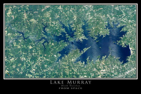 The Lake Murray South Carolina Satellite Poster Map