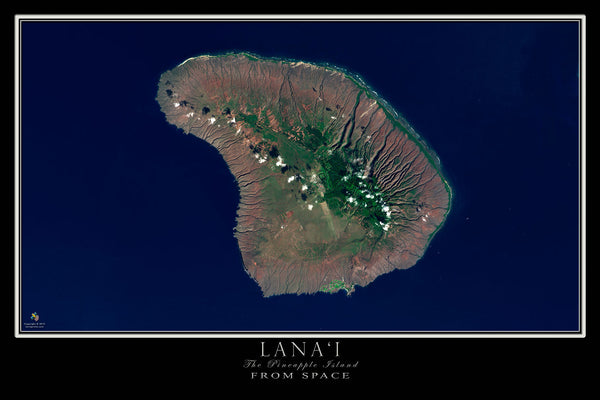 Lanai Island Hawaii Satellite Poster Map — aerial views