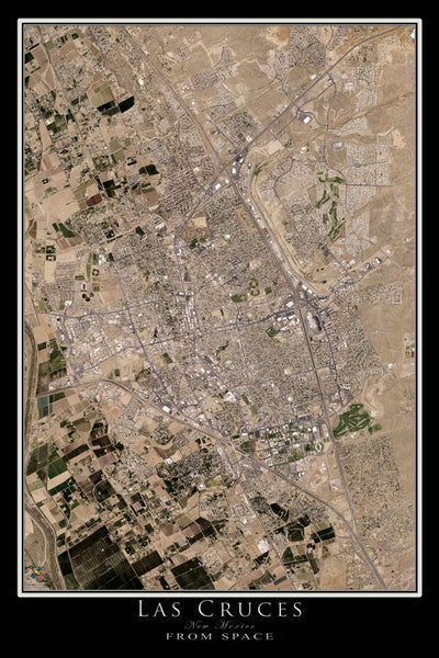 Las Cruces New Mexico From Space Satellite Poster Map by TerraPrints.com. Available in multiple sizes with free shipping in the USA.
