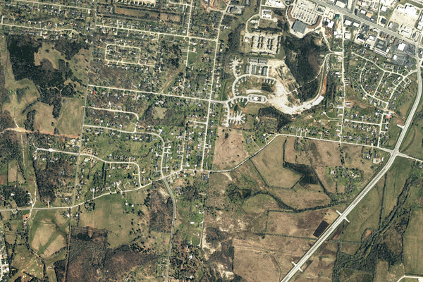 Lebanon Tennessee From Space Satellite Poster Map