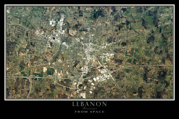 Lebanon Tennessee From Space Satellite Poster Map - TerraPrints.com
