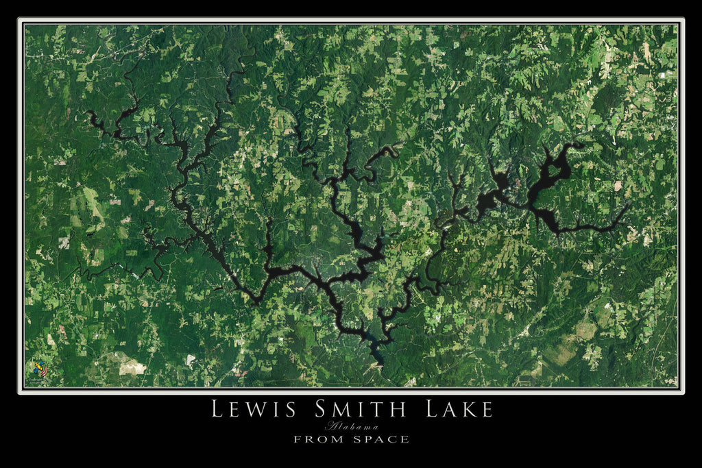Lewis Smith Lake Alabama From Space Satellite Poster Map by TerraPrints.com. Available in multiple sizes with free shipping in the USA.