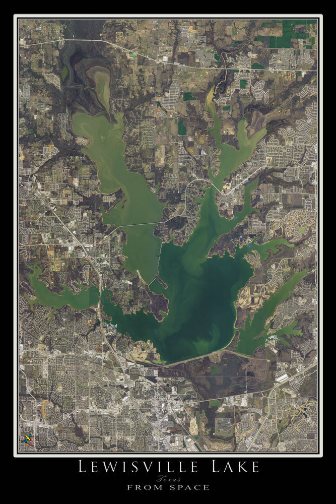 The Lewisville Lake Texas Satellite Poster Map