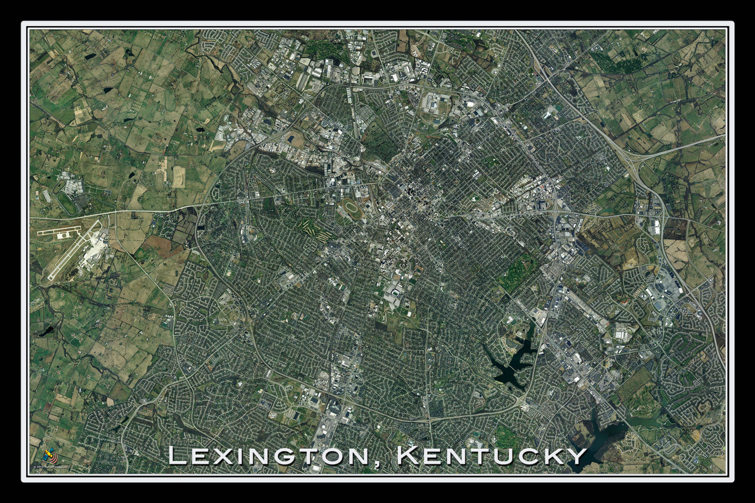 Lexington Kentucky Satellite Poster Map by TerraPrints.com. Available in multiple sizes with free shipping in the USA.