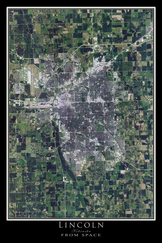 Lincoln Nebraska From Space Satellite Poster Map by TerraPrints.com. Available in multiple sizes with free shipping in the USA.