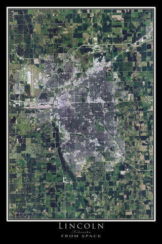 Lincoln Nebraska Satellite Poster Map