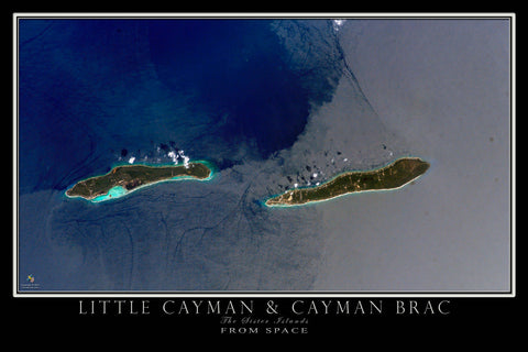 Little Cayman & Cayman Brac Islands From Space Satellite Poster Map - TerraPrints.com