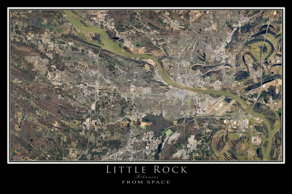 Little Rock Arkansas Satellite Poster Map by TerraPrints.com. Available in multiple sizes with free shipping in the USA.