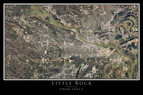 Little Rock Arkansas From Space Satellite Poster Map by TerraPrints.com. Available in multiple sizes with free shipping in the USA.