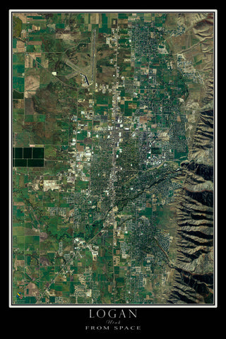 Logan Utah From Space Satellite Poster Map by TerraPrints.com. Available in multiple sizes with free shipping in the USA.