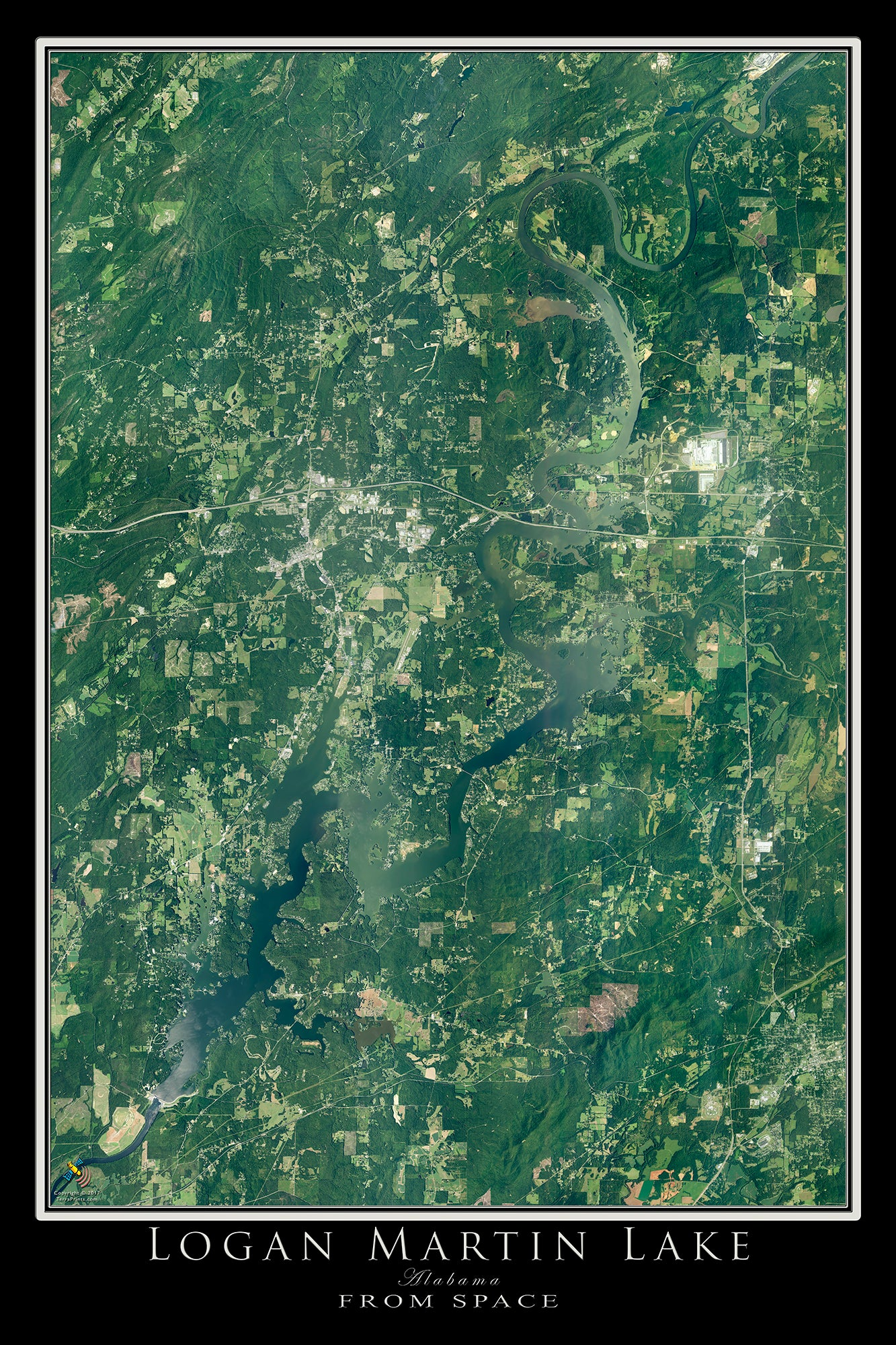 The Logan Martin Lake Alabama Satellite Poster Map
