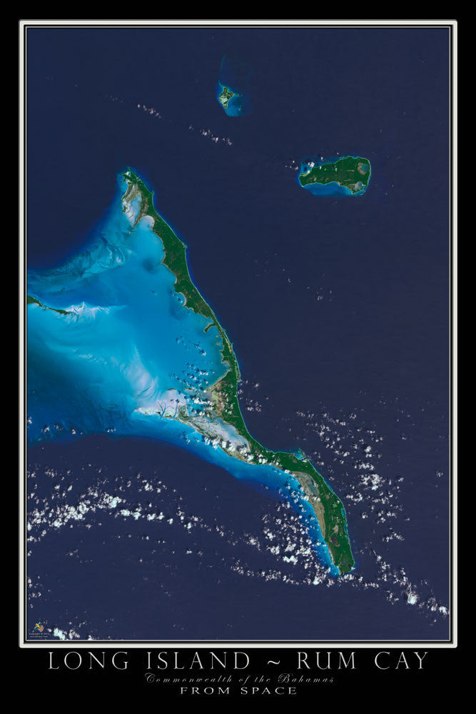 Long Island Bahamas From Space Satellite Poster Map by TerraPrints.com. Available in multiple sizes with free shipping in the USA.