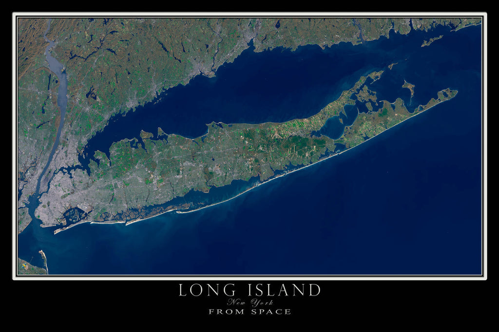 long island new york satellite poster map terraprintscom