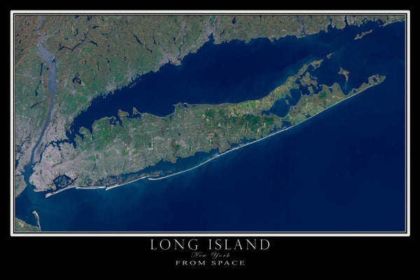 Long Island New York From Space Satellite Poster Map - TerraPrints.com