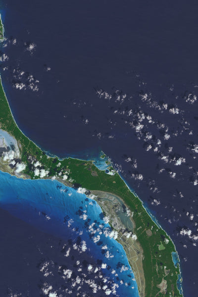 Long Island Bahamas From Space Satellite Poster Map
